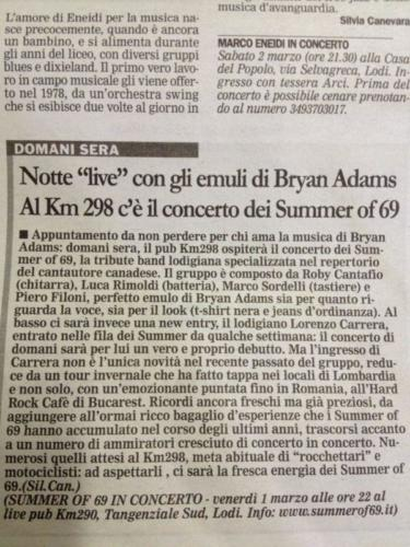Notte live con gli emuli di Bryan Adams