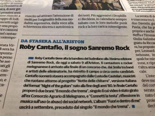 Roby Cantafio il sogno Sanremo Rock